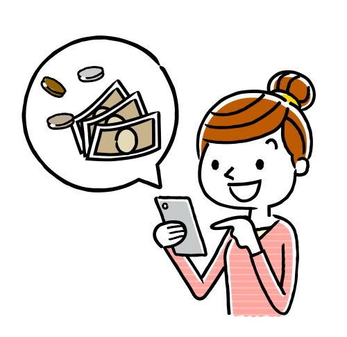 スマホでお金を管理する20代女性