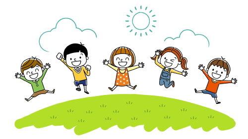 園庭で元気遊ぶ子ども